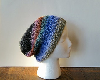 Blue Winter Accessories Knit Hat in Blueberries and Frost - True Blue, Dusty Teal, Grey