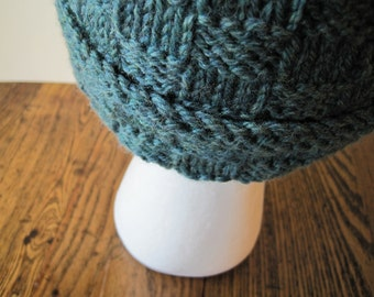 Hand Knit Boyfriend Beanie - Geometric Texture in Heathered Teal