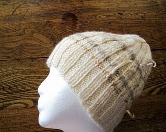 Ragdoll Knit Cap in Cream, Tea-Stained, and Natural Stripes - Wool and Silk Ribbon Accents