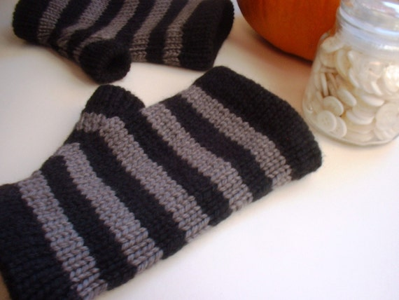 Warm grey and black fingerless gloves hand knit from merino wool