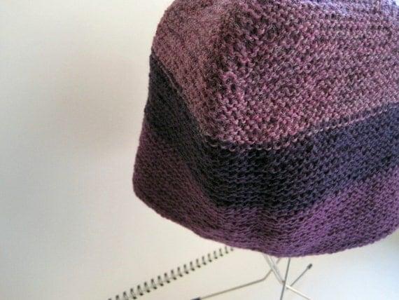 Blackberry Purple Wool Woven Look Colorblock Hat in Eggplant, Blackberry and Heathered Purple