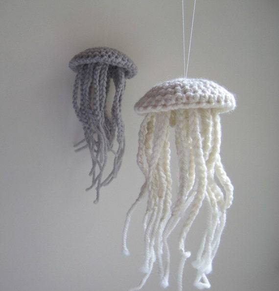 Medium Moon Jellyfish Amigurumi in Unbleached White Merino Wool - Natural History Curio Crochet Soft Sculpture - Sea Creature