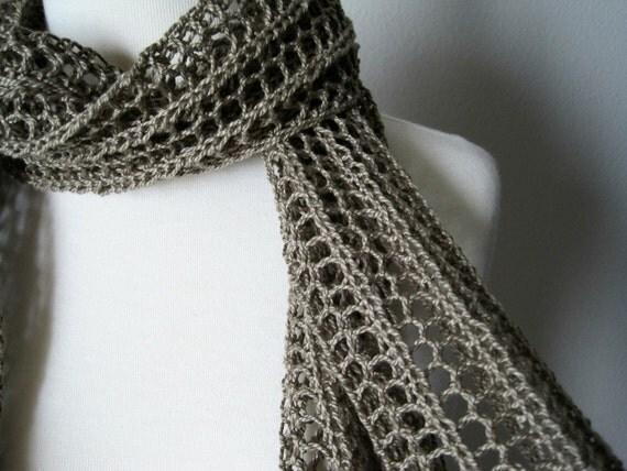 The Laszlo Scarf in Lichen - hand knit in pure cotton