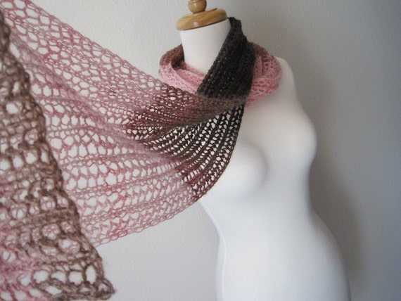 PLAYA Fuzzy Lace Scarf in Sunset Pink and Bittersweet Brown - Sale