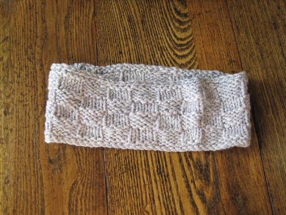 Lavender Winter Headband - Hand Knit in Soft Handspun Wool and Silk