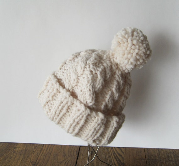 Delightful Cable Knit Pom Pom Hat - Winter White