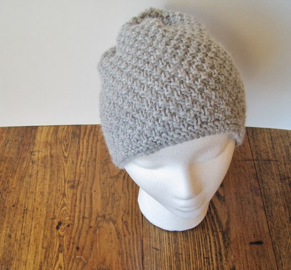 Textured Hand Knit Hat - Slouchable Watch Cap in Grey Wool Blend
