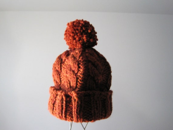 Delightful Cable Knit Pom Pom Hat - Hand Knit Cap in Spice