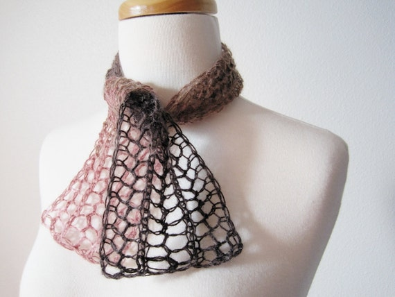 Bittersweet Brown and Blush Hand Knit Scarflette / Mini Scarf / Alice Band Headwrap - Brown and Pink Wool Blend Yarn