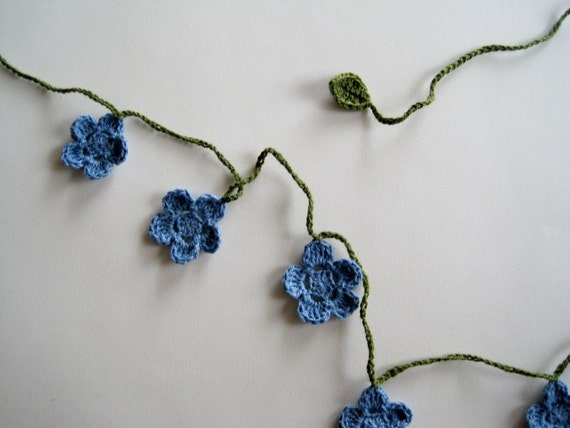 Forget Me Not Mini Garland - Cotton Crochet Floral Banner in Blue and Moss Green