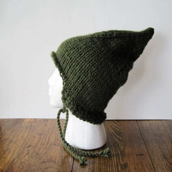 EVERGREEN pixie aviator hat - vegan friendly - woodland inspired - fae hand knit cap - limited edition fae inspired soft knit cap - CIJ Sale