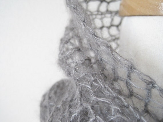 The Selkie Scarf - Ocean Grey Hand Knit Lace in Kid Mohair, Silk, and Stainless Steel - Women's Winter Accessories