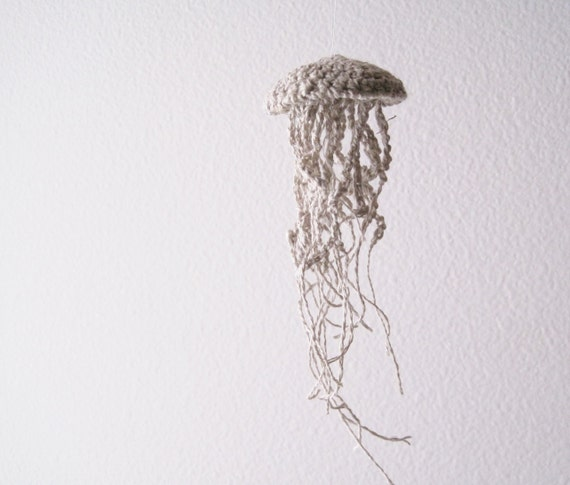 Jellyfish Amigurumi Ornament in Unbleached Linen - Rustic Cottage Chic Geek Decor - Size Small