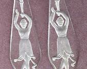 vintage etched glass pendants ISADORA DUNCAN pair bridal antique glass pendants charms rare 1920s