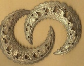 two really nice size vintage brass ornate stampings, crescent shape