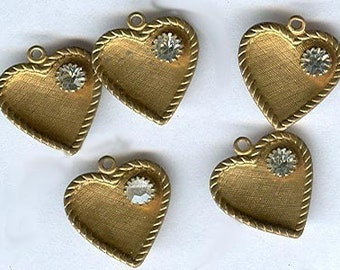 vintage heart charms with white/clear crystal rhinestone THREE wonderful brass hearts texture hearts ASSORTED OX and patina