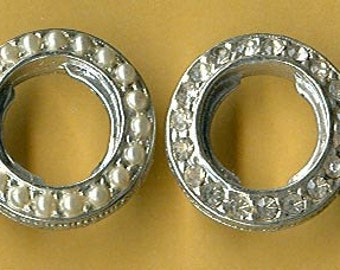 vintage rhinestone connectors TWO findings very rugged silvertone rhinestone on one side and pearls on other side circles patina