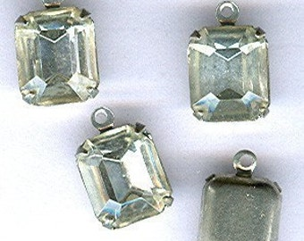 vintage rhinestone charm gorgeous and dainty rhinestone drops in silvertone setting, FIVE findings prong set