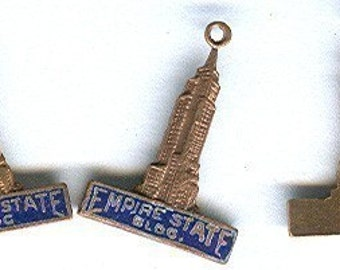 vintage charms empire state building brass enamel 1940s