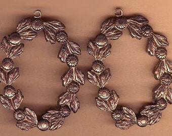 vintage brass findings leaf or vine design solid brass TWO drops rugged sturdy drops antique findings
