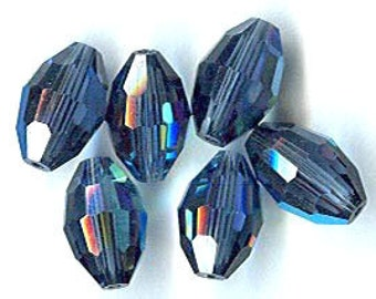 vintage swarovski crystal beads MONTANA, old article 351, AB, 12mm x 8mm EIGHT beautiful beads