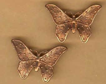 vintage butterfly charms THREE brass charms texture ox patina raw brass antique charm vintage charm