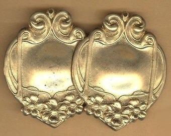 vintage victorian or art nouveau style stamping charm, hole at top, fancy decorative RGP one PAIR