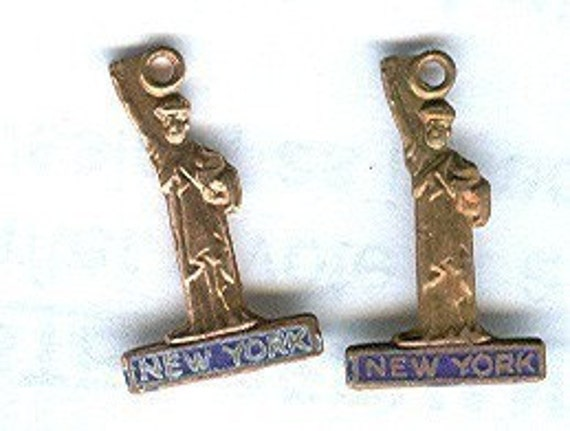 vintage brass charm statue of liberty, brass and blue enamel 1940s