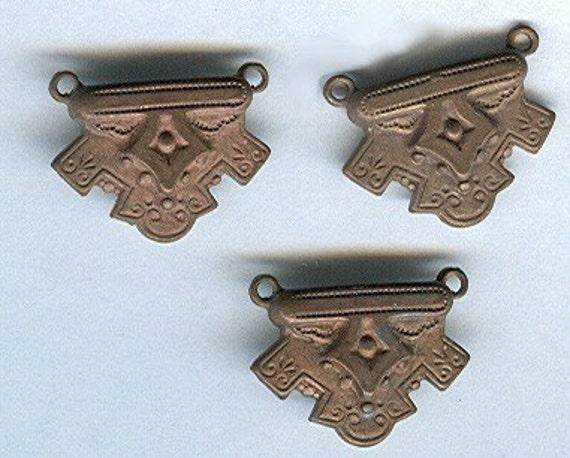 vintage stampings raw brass findings in goth or victorian look, loop on each end of top