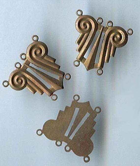 vintage art deco brass findings in sort of a harp shape, 2 loops to 4 loops, various patinas