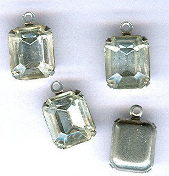vintage rhinestone charm gorgeous and dainty rhinestone drops in silvertone setting, prong set