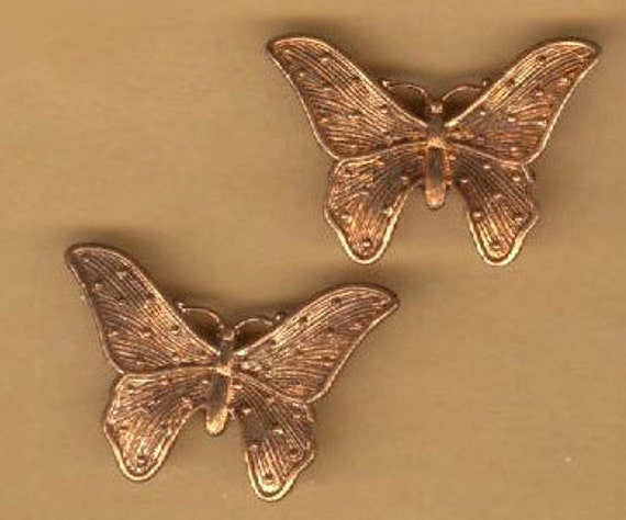 vintage butterfly charms, texture ox patina raw brass, three pieces