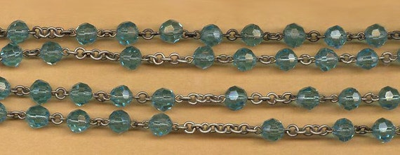 vintage rosary beads chain turquoise color faceted glass rosary chain, patinaed silvertone metal