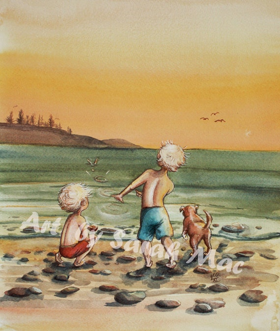 Skipping Stones - original watercolour illustration by Sarah Mac