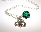 SHIPS FREE - SS Claddagh and Swarovski Clover Charm Necklace