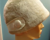 RESERVED for Pepys 1970s Vintage MOD Cream Colored Faux Fur Hat by Atelier Lucas 22 inches Made in London for Lord and Taylor