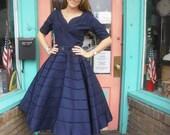 Fabulous New Look 1940s Vintage Dress Navy Taffeta Beaded Circle Skirt Cocktail Dress 34 Bt 26 W