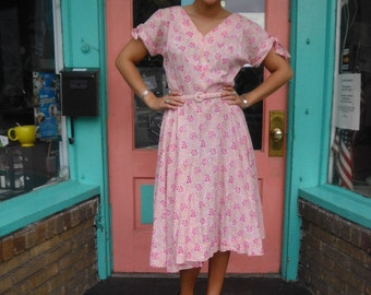 Vintage Swing Dress Late 1940s or Early 1950s Post War 38 Bust  30 Waist Pink Floral Cotton Dress w Rhinestones Sequins