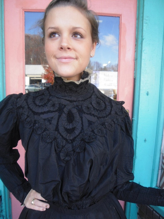 Reserved for olioliolio2000 Victorian 3 piece Dress Black Silk Gibson Girl Blouse Great Detail  36 plus Bust 30 waist