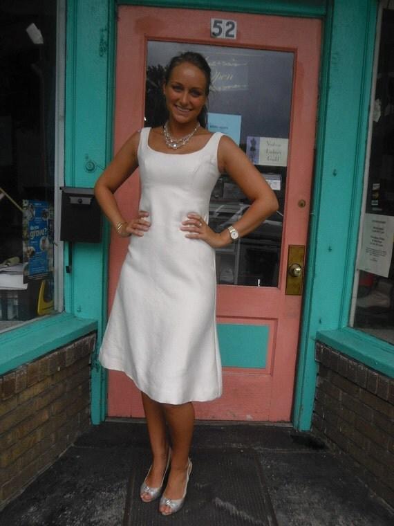 Elegant 1960s or 70s Vintage Winter White Dress Short Informal Wedding Dress 34 Bust Free U S Shipping
