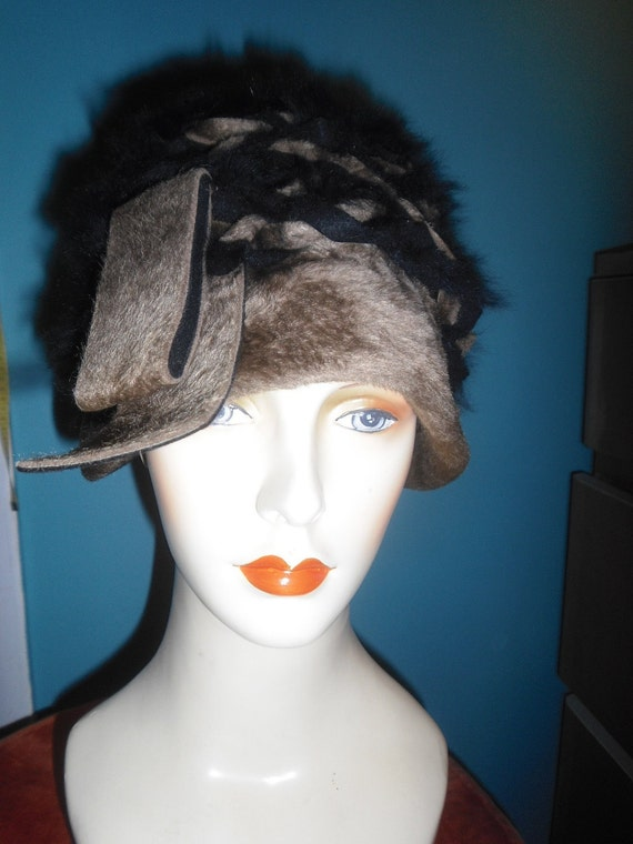 1960s or 70s Lilly Dache Hat Woven Velor & Angora Cloche Style Hat