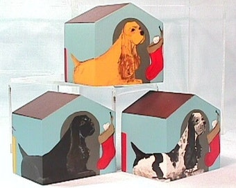 Doghouse Ornament English Cocker Spaniel or Black Cocker Spaniel Hand Painted on Wood