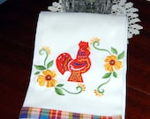 Red Dala Rooster Dish Towel