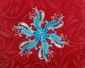 Rosemaling Snowflake Red Dish Towel