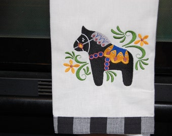 Embroidered Dala Horse Dish Towel