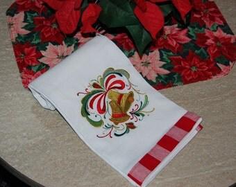 Rosemaling Christmas Bells Towel