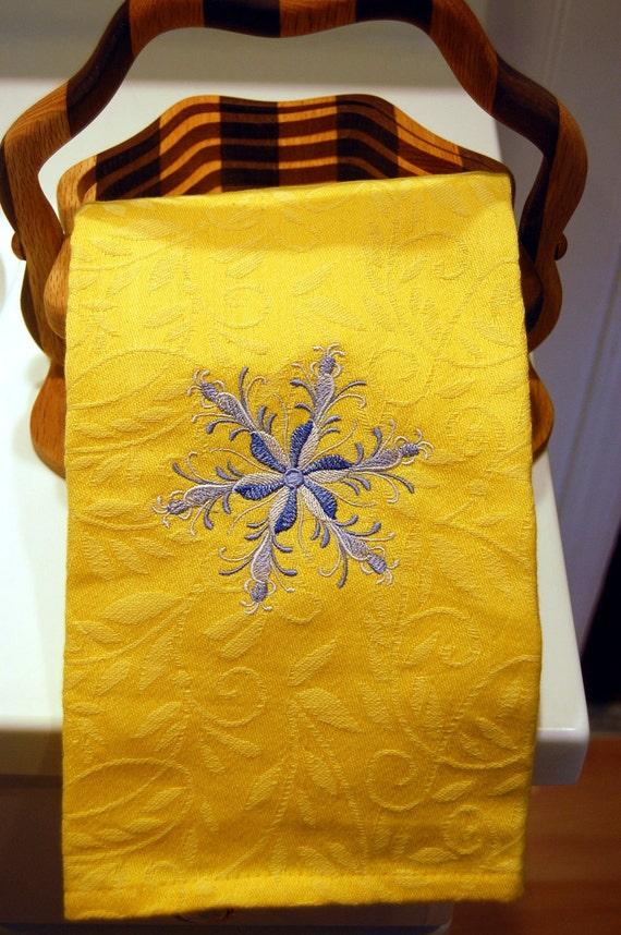 Rosemaling Snowflake Yellow Dish Towel