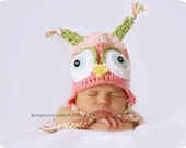 Pink Owl Hat Photography Photo Prop 0-3 months Ready to Ship