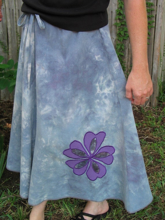 Abstract heart flower applique hemp skirt
