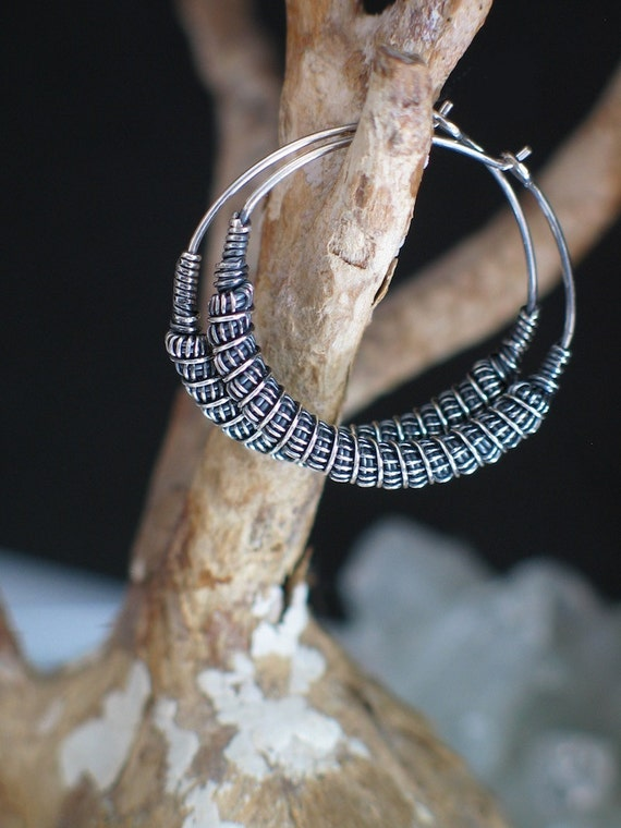 Wire Wrapped Earrings Antiqued Silver Coil Hoops